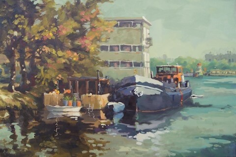 Havenkwartier Deventer, 120 x 80 cm.